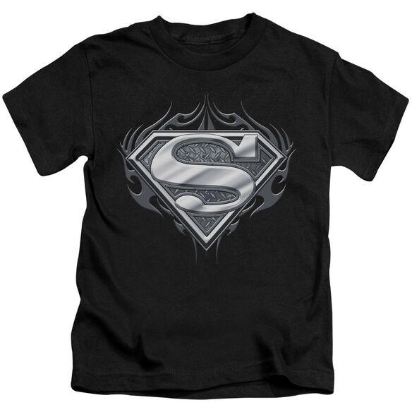 Superman Biker Metal Short Sleeve Juvenile Black T-Shirt