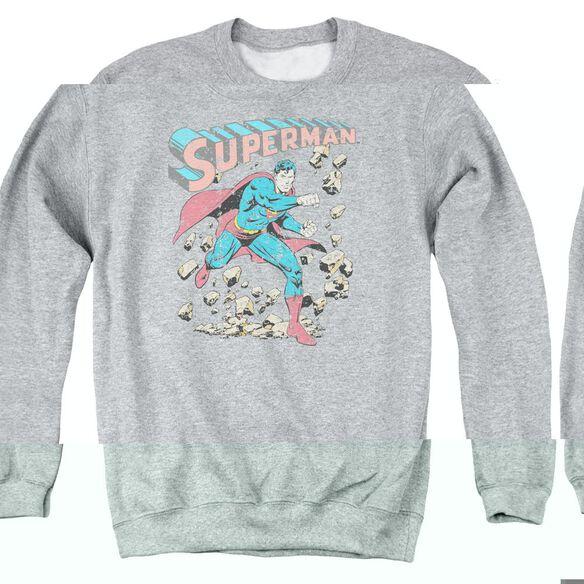Superman Mad At Rocks - Adult Crewneck Sweatshirt - Athletic Heather