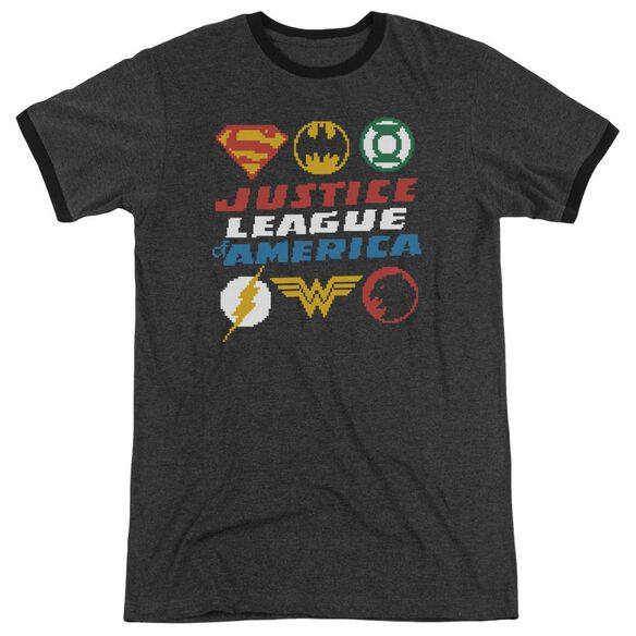 Jla Pixel Logos Adult Heather Ringer Charcoal