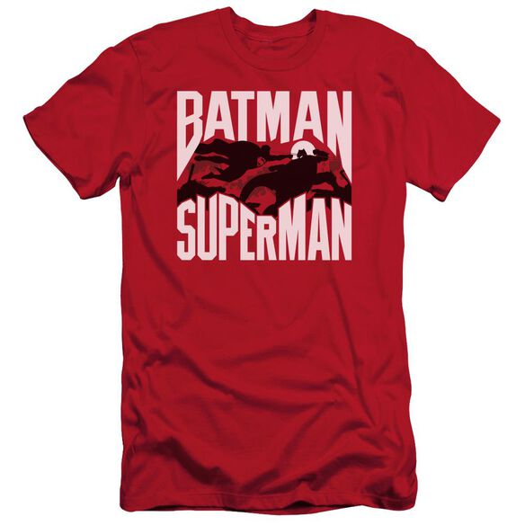 Batman Vs Superman Silhouette Fight Short Sleeve Adult T-Shirt