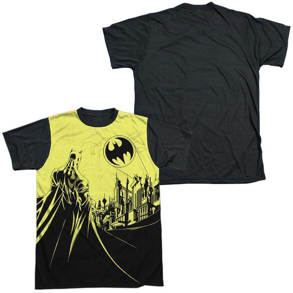 Batman Bat Signal Short Sleeve Adult Front Black Back T-Shirt