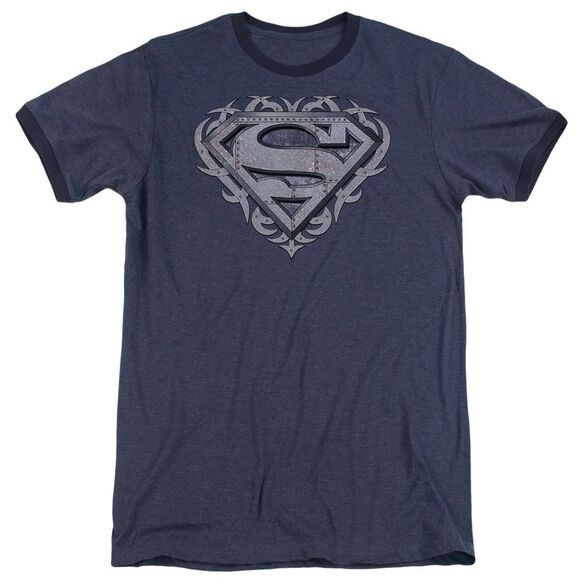 Superman Tribal Steel Shield Adult Heather Ringer Navy