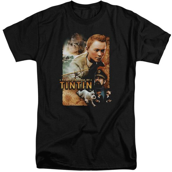 Tintin Adventure Poster Short Sleeve Adult Tall T-Shirt