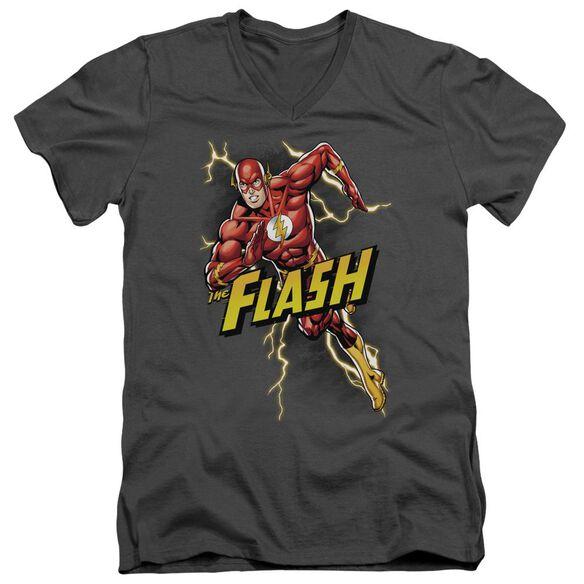 Jla Bolt Run Short Sleeve Adult V Neck T-Shirt