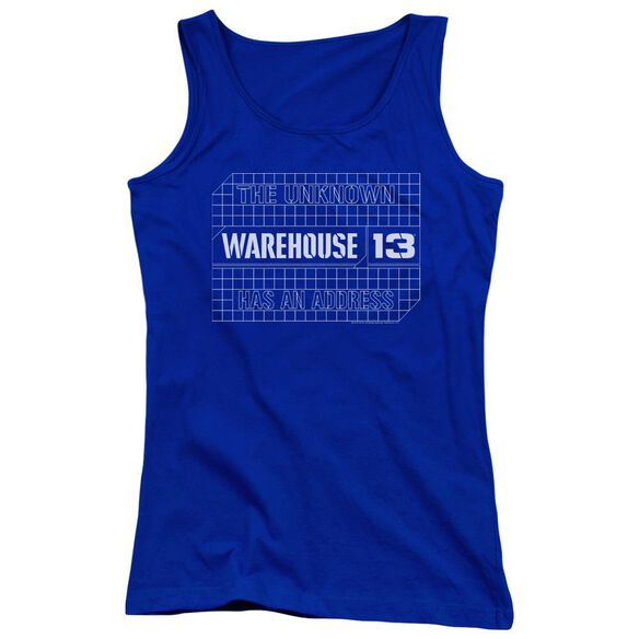 Warehouse 13 Blueprint Logo Juniors Tank Top Royal
