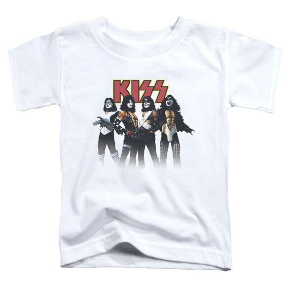 Kiss Throwback Pose Short Sleeve Toddler Tee White T-Shirt