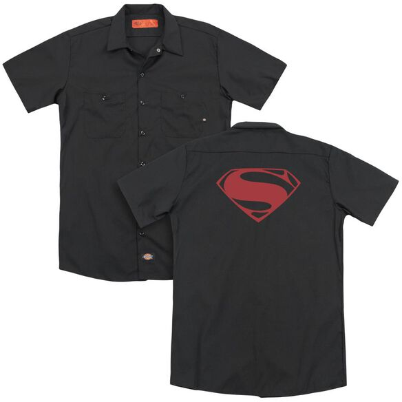 Man Of Steel Red Glyph (Back Print) Adult Work Shirt
