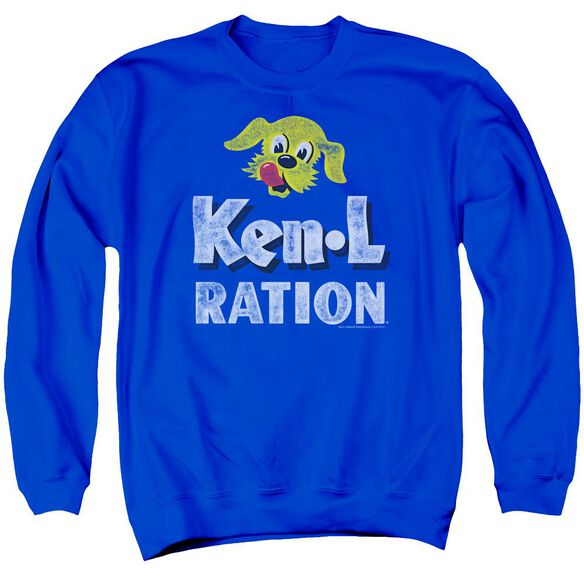 Ken L Ration Distressed Logo Adult Crewneck Sweatshirt Royal
