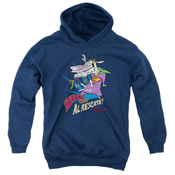 Cow & Chicken Super Cow-youth Pull-over Hoodie - Navy