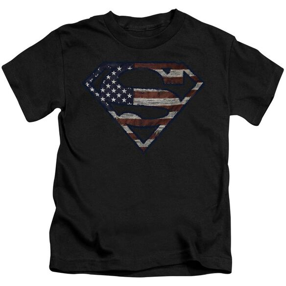 Superman Wartorn Flag Short Sleeve Juvenile T-Shirt