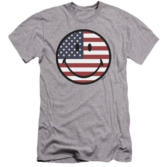 Smiley World American Flag Face Premuim Canvas Adult Slim Fit Athletic