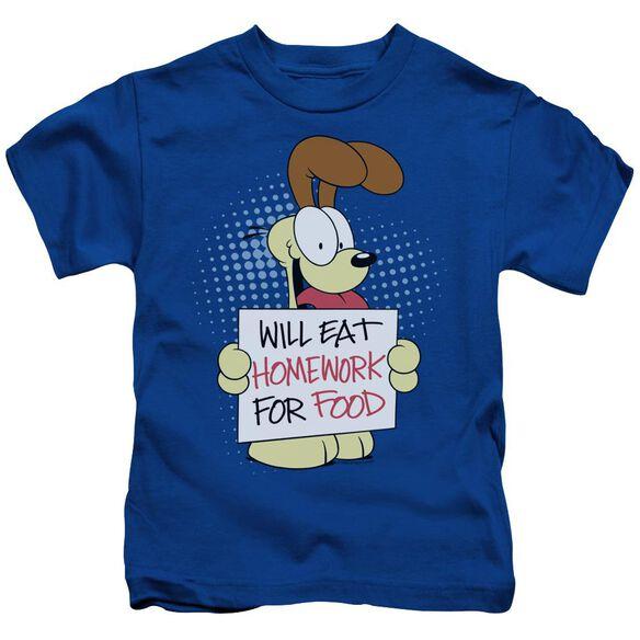 Garfield Will Eat Homework Short Sleeve Juvenile Royal Blue T-Shirt