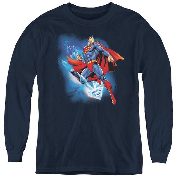 Superman Crystallize - Youth Long Sleeve Tee - Navy