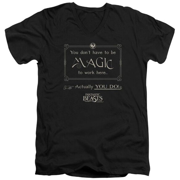 Fantastic Beasts Magic To Work Here Short Sleeve Adult V Neck T-Shirt