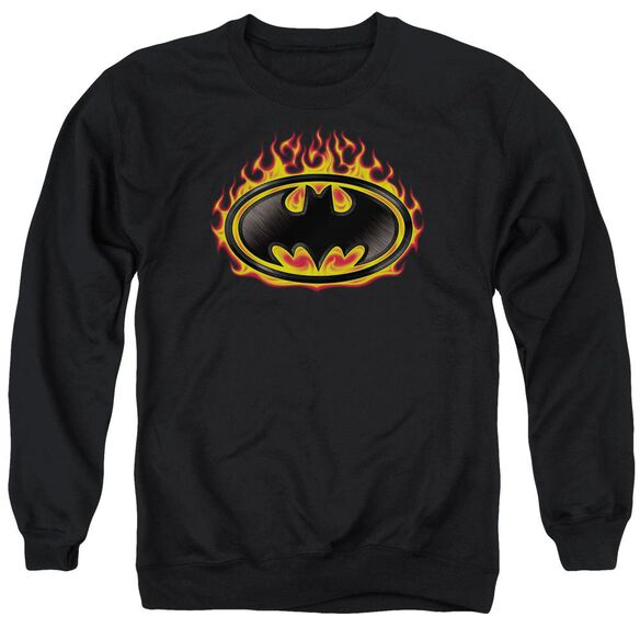 Batman Bat Flames Shield Adult Crewneck Sweatshirt