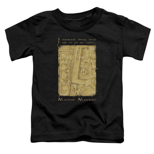 Harry Potter Marauders Map Interior Words Short Sleeve Toddler Tee Black T-Shirt