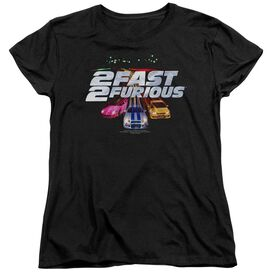 2 FAST 2 FURIOUS LOGO - S/S WOMENS TEE - BLACK - SM - BLACK T-Shirt