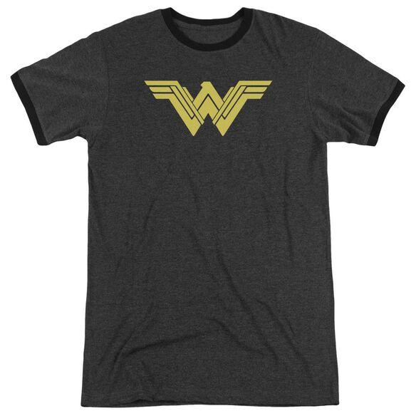 Batman V Superman Clean Line Logo Adult Heather Ringer Charcoal