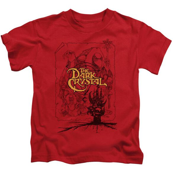 Dark Crystal Poster Lines Short Sleeve Juvenile Red Md T-Shirt