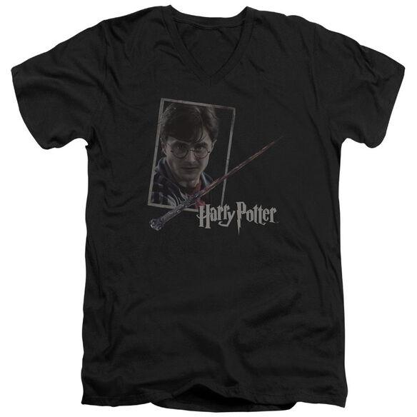 Harry Potter Harrys Wand Portrait Short Sleeve Adult V Neck T-Shirt