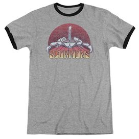 Scorpions Scorpions Color Logo Distressed Adult Ringer Heather Black