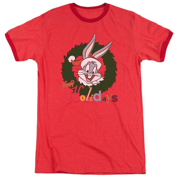 Looney Tunes Holiday Bunny Adult Ringer Red