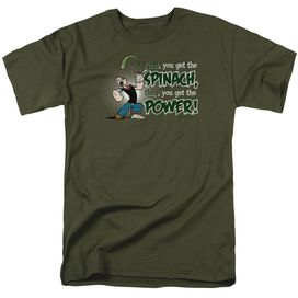 Popeye Spinach Power Short Sleeve Adult Military Green T-Shirt