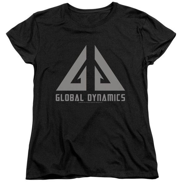 Eureka Global Dynamics Logo Short Sleeve Womens Tee Black T-Shirt