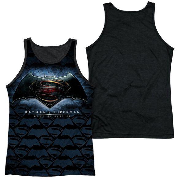 Batman Vs Superman Logo Pattern Adult Poly Tank Top Black Back