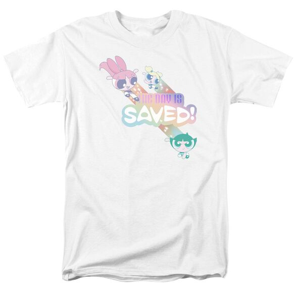 Powerpuff Girls The Day Is Saved Short Sleeve Adult White T-Shirt