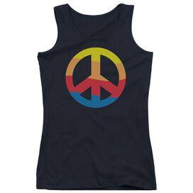 Rainbow Peace Sign - Juniors Tank Top - Black