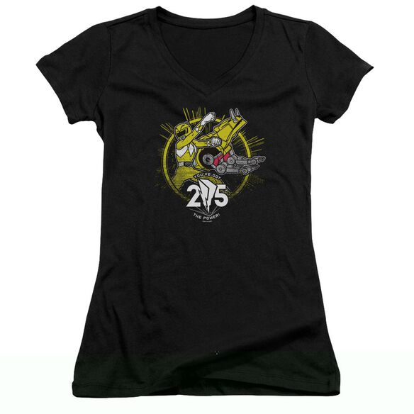 Power Rangers Yellow 25 Junior V Neck T-Shirt