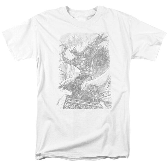 Batman Pencil Batarang Throw Short Sleeve Adult White T-Shirt