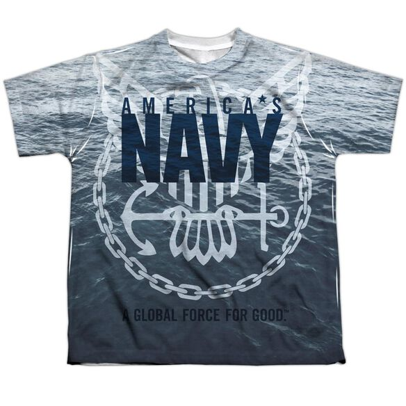 Navy Force For Good Short Sleeve Youth Poly Crew T-Shirt