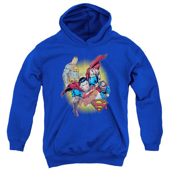 Jla Superman Collage Youth Pull Over Hoodie