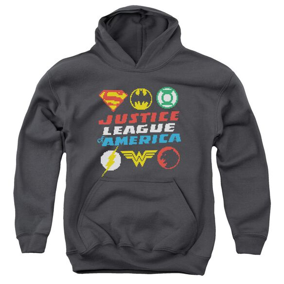 Jla Pixel Logos Youth Pull Over Hoodie