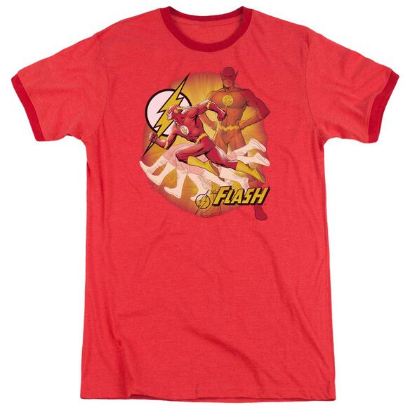 Jla Lightning Fast Adult Heather Ringer Red