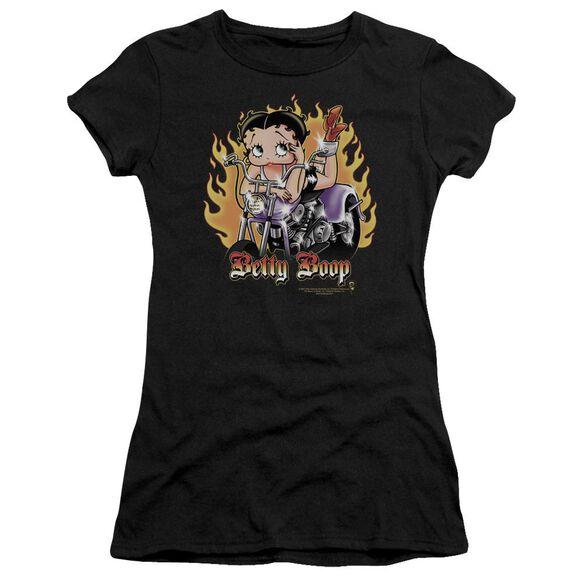 Betty Boop Biker Flames Boop Short Sleeve Junior Sheer T-Shirt