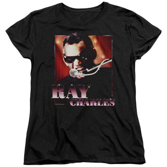 Ray Charles Sing It Short Sleeve Womens Tee Black T-Shirt