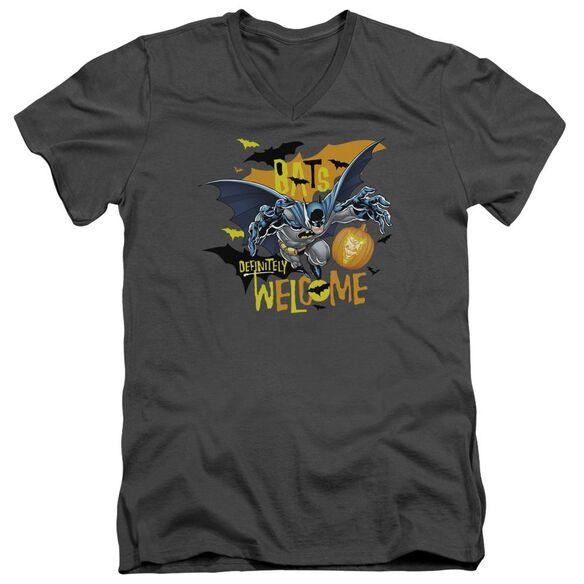 Batman Bats Welcome Short Sleeve Adult V Neck T-Shirt