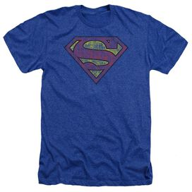 Superman Tattered Shield Adult Heather Royal