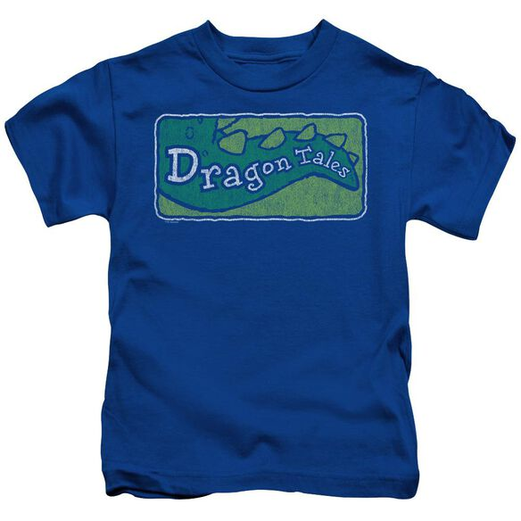 Dragon Tales Logo Distressed Short Sleeve Juvenile Royal T-Shirt