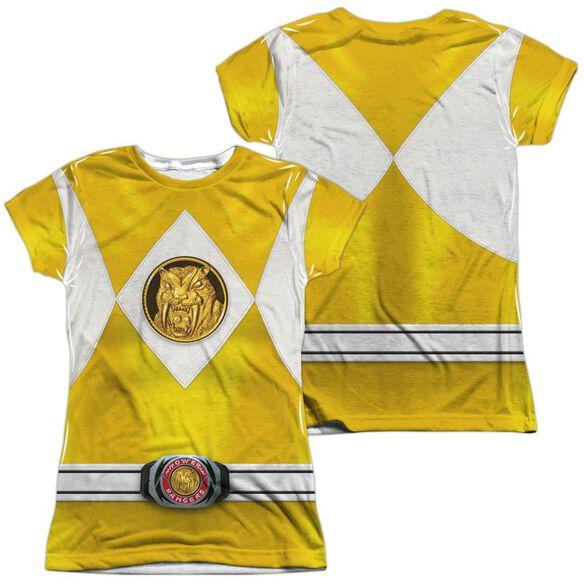 Power Rangers Yellow Ranger Emblem (Front Back Print) Short Sleeve Junior Poly Crew T-Shirt