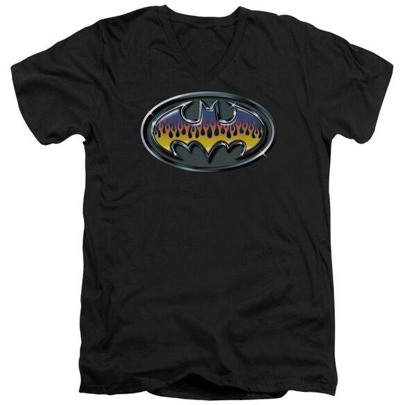 Batman Hot Rod Shield Short Sleeve Adult V Neck T-Shirt