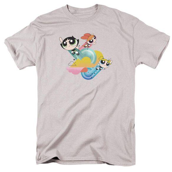 Powerpuff Girls Spiral Streaks Short Sleeve Adult Silver T-Shirt