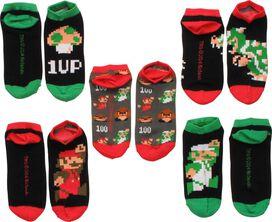 Mario 8-Bit Characters 5 Pair Low Cut Socks Set