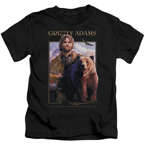 Grizzly Adams Collage Short Sleeve Juvenile Black T-Shirt