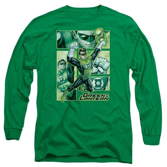 Jla Lantern Panels Long Sleeve Adult Kelly T-Shirt