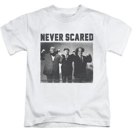 Three Stooges Never Scared Short Sleeve Juvenile White Md T-Shirt