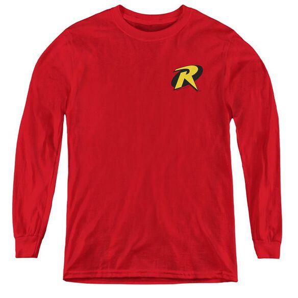 Batman Robin Logo - Youth Long Sleeve Tee - Red